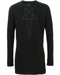 DRKSHDW by Rick Owens Embroidered Starlong Sleeve T-shirt - Lyst
