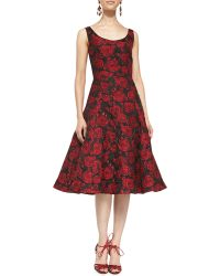 Oscar de la Renta Scoopneck Rose Dress with Flared Skirt - Lyst