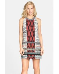 Nicole Miller Embroidered Print Woven Cotton Shift Dress - Lyst
