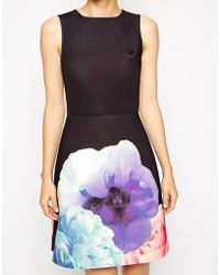 Asos Skater Dress With A- Line In Bonded Floral Placement Print - Lyst