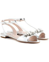Miu Miu Crystal Embellished Metallic Leather Sandals - Lyst
