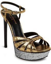 Saint Laurent Glittered Platform Metallic Snakeskin Sandals - Lyst