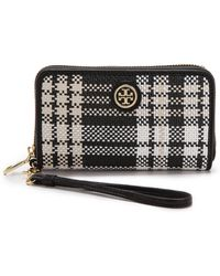 Tory Burch Robinson Plaid Smartphone Wallet - Poppy Coral/Carnation - Lyst