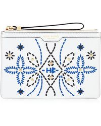 Henri Bendel West 57Th Large Zip Embroidered Pouch - Lyst