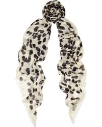 Alexander McQueen Big Skull Printed Cashmere and Silkblend Scarf - Lyst