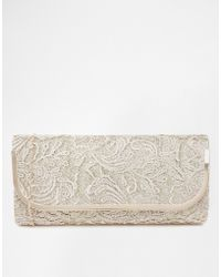 Oasis Cahir Lace Clutch Bag in Neutral - Lyst