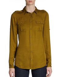 Burberry Brit Silk Buttonfront Blouse - Lyst
