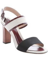 Celine | Beige And Maroon Leather Trimmed Canvas Slingback Sandals | Lyst