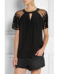 Alice By Temperley - Everette Tullepaneled Silk Crepe De Chine Top - Lyst