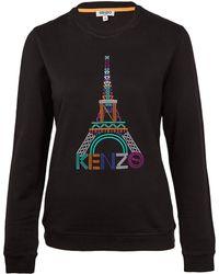KENZO - Black Eiffel Tower Cotton Sweatshirt - Lyst