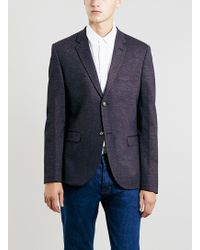 Topman Burgundy Jersey Skinny Fit Blazer - Lyst