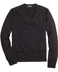 Brooks Brothers Saxxon® Wool V-Neck Sweater - Lyst