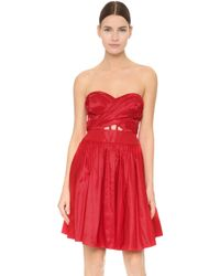 Notte by Marchesa | Strapless Cocktail Dress - Red | Lyst