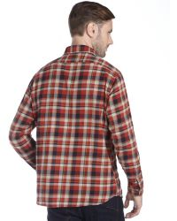 Tailor Vintage - Copper Mountain Red Plaid Cotton Long Sleeve Button Front Shirt - Lyst