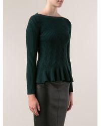 Oscar de la Renta Peplum Sweater - Lyst