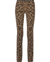 Roberto Cavalli Leopardprint Stretchwool Pants - Lyst