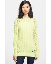 Equipment 'Amber' Cable Knit Openwork Sweater - Lyst