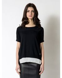 Patrizia Pepe Opened Back Mesh with Fancy Tank Top - Lyst