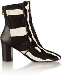 Balmain Amine Zebra-Print Calf Hair Ankle Boots - Lyst