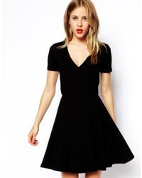 Asos Skater Dress with Wrap Front - Lyst