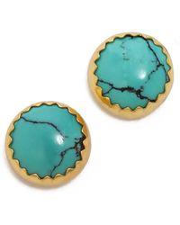 Heather Hawkins - Cabachon Turquoise Stud Earrings - Lyst