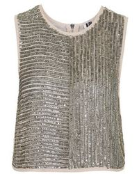 Topshop Sequin Shell Top - Lyst