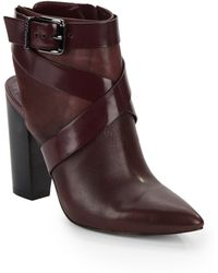 BCBGeneration Jezebelle Open-Back Leather Ankle Boots - Lyst