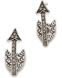 House Of Harlow 1960 Arrow Affair Huggie Earrings - Silver/Smokey Grey - Lyst