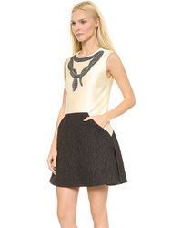 Giambattista Valli Sleeveless Dress Ivoryblack - Lyst