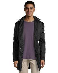 Prada Black Gabardine Button Front Raincoat - Lyst