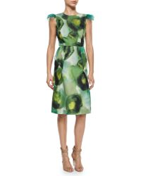 Burberry Prorsum Ink Sponge Floral-Print Dress green - Lyst