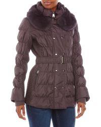 Via Spiga Real Fur Trim Belted Down Coat - Lyst