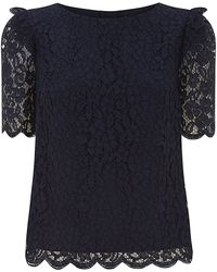 Juicy Couture Lace Frill Shoulder Top - Lyst