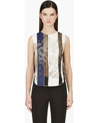 3.1 Phillip Lim White Striped Embellished Tank Top - Lyst