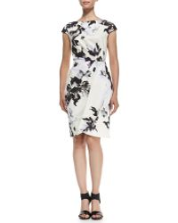 Lela Rose Inkblot-print Cap-sleeve Sheath Dress - Lyst