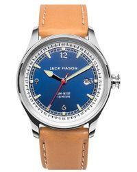 Jack Mason Brand - Nautical Leather Strap Watch - Lyst