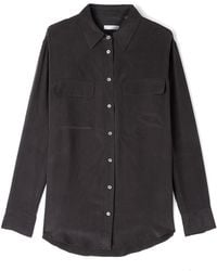 Equipment Black Signature Silk Shirt - Lyst