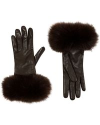 Harrods Fox Fur Trimmed Leather Gloves - Lyst