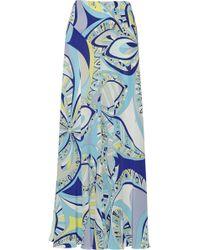 Emilio Pucci Printed Silk Crepe De Chine Maxi Skirt - Lyst