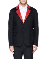 Alexander McQueen Contrast Trim Wool-Cashmere Blazer black - Lyst