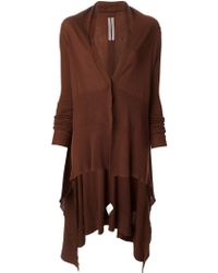 Rick Owens Long Draped Cardigan - Lyst