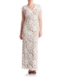 Tadashi Shoji Floral Lace Gown gray - Lyst