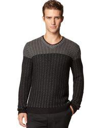 Calvin Klein Ck Premium Colorblocked V-neck Sweater - Lyst