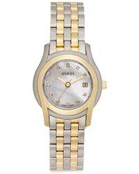 Gucci Twotone Diamond Stainless Steel Bracelet Watch - Lyst