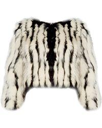 Alice + Olivia | Tierra Striped Fur Cropped Jacket | Lyst
