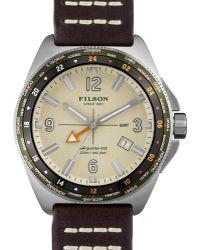Filson - 44mm Journeyman Gmt Watch With Leather Strap - Lyst
