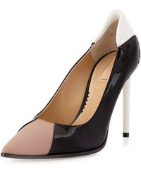 Reed Krakoff Academy Patent Leather Pointed-Toe Pump black - Lyst