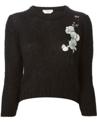 Fendi Orchid Appliqué Embroidered Sweater black - Lyst
