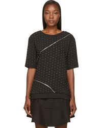 Jay Ahr Black Studded and Zipped Phenice Top - Lyst