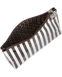 Henri Bendel Brown & White Stripe Medium Cosmetic Bag - Lyst
